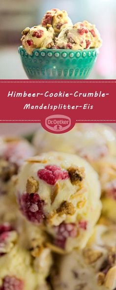 Himbeer-Cookie-Crumble-Mandelsplitter-Eis: Aus unserer TV Werbung zum Selbermachen und Genießen  #eisselbermachen #eisideen #eiskreation #Himbeeren #Keks #Mandeln