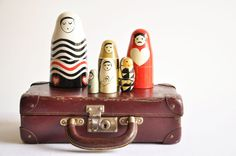 Vintage Small Leather Suitcase by thelittlebiker on Etsy,