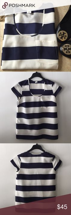 Jcrew Nautical Stripe Silk Blouse Perfect to wear with your favorite shorts or jeans! Short sleeve, pull on, front pocket. Tagged xs but can fit a size small as well. Fabric: 100% silk. Mint condition. All reasonable offers are welcome! Please make all offers through the offer button J. Crew Tops Blouses