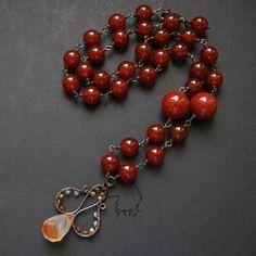 Karneolove necklace by *Dark-Lioncourt on deviantART Beaded Bracelets, Necklaces, Pendants, Deviantart, Dark, Jewelry, Fashion, Moda, Jewlery