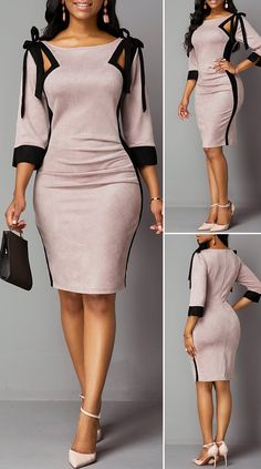 Back Zipper Tie Shoulder Three Quarter Sleeve Dress HOT SALES beautiful dresses, pretty dresses, Cute Dress Outfits, Classy Work Outfits, Classy Dress, Fall Outfits, Latest African Fashion Dresses, African Dresses For Women, Women's Fashion Dresses, Fashion Shoes, Fashion Jewelry