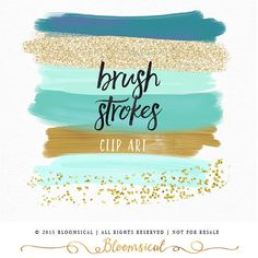 Brush Strokes Clip Art Hand Painted Mint Gold by Bloomsical Mint Gold, Teal And Gold, Glitter Acrylics, Gold Glitter, Gold Color Palettes, Photography Marketing, Photography Business, Color Pallets, Colour Schemes