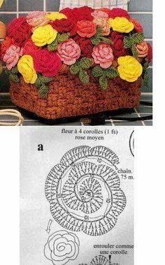 Crochet Flowers Design Crochet rose chart pattern - Visit the post for more. Beau Crochet, Crochet Puff Flower, Crochet Flower Tutorial, Crochet Diy, Crochet Leaves, Crochet Motifs, Knitted Flowers, Crochet Flower Patterns, Crochet Diagram