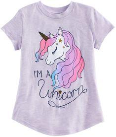 "Girls Jumping Beans® ""I'm A Unicorn"" Graphic Tee, Size: Brt Blue I Love Girls, Girls Bows, Girls 4, Unicorn Costume, Unicorn Shirt, Unicorn Graphic, Mermaid Drawings, Art Drawings, Unicorn Illustration"