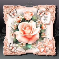 Peach Roses Card on Craftsuprint designed by Atlic Snezana - Peach Roses Card: 4 sheets for print with decoupage for 3D effect plus few sentiment tags (for your own personal text) - Now available for download!