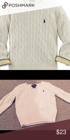Ralph Lauren NWOT.  2T boys cable knit sweater Ralph Lauren NWOT.  2T boys cable knit sweater.  Washed and never worn.  My son outgrew it before we could wear it!  Smoke and pet free.  So adorable!      Only use top quality detergents and fabric softeners which are free of toxins and any harsh chemicals! Ralph Lauren Shirts & Tops Sweaters