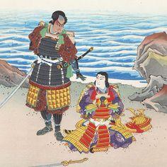 Kumagai and Taira Atsumori on Suma Beach by Sadanobu III (1881 - 1963)
