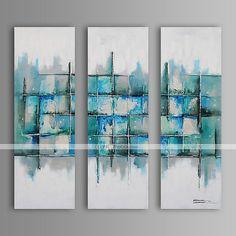 Pintados à mão Abstracto / FantasiaModern / Estilo Europeu 3 Painéis Tela Hang-painted pintura a óleo For Decoração para casa de 2417654 2016 por R$571,46