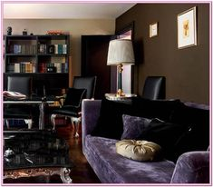 Modern Interior Decorating with Silver, Orange and Dark Room Colors Room Colors, Wall Colors, House Colors, Colorful Interior Design, Colorful Interiors, Modern Interior, Dark Brown Walls, Purple Couch, Sofa Upholstery