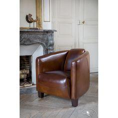 Fauteuil club cuir marron vintage Beaubourg
