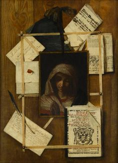 A TROMPE L'OEIL WITH DOCUMENTS, LETTER, BOOK AND PAINTING OF THE MADONNA AFTER GIOVANNI BATTISTA SALVI
