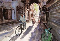 Ciclista Acuarela Watercolor. 53x36 cms. Etiquetas: arab culture, watercolor, acuarela, adan j cespedes www.adanjcespedes.com