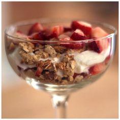 Breakfast - Strawberry Parfait ( Greek Yogurt, Apple Blueberry Granola & Strawberry) - @xo_dominichulinda- #webstagram #eatclean #cleaneating