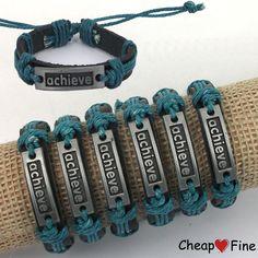 "Lots 6PCS ""Achieve"" Alloy Metal Genuine Leather Blue Hemp bracelets For giift #cheapfine #fashion"