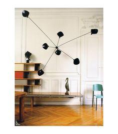 Perriand, Prouve: bookcase and chairs Serge Mouille: lamp Mid-century Interior, Interior Lighting, Modern Interior Design, Lighting Design, Interior Architecture, Modern Lighting, Luminaire Original, Blitz Design, Deco Luminaire