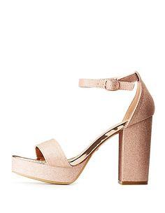 36b2e208a3c Bamboo Glitter Ankle Strap Platform Sandals