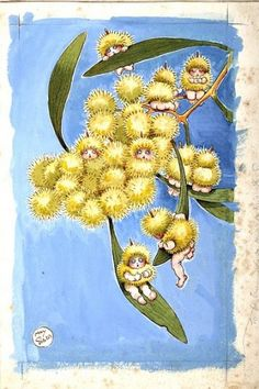 "Do you remember May Gibbs - Fly leaf from Wattle Babies illustrator, and cartoonist. She is best known for her gumnut babies (also known as ""bush babies"" or ""bush fairies""), and the book Snugglepot and Cuddlepie. Art And Illustration, Book Illustrations, Bebe Nature, Baby Tattoos, Flower Fairies, Flower Art, Fairy Art, Australian Artists, Mellow Yellow"