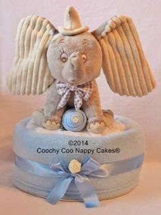 Extra Large Dumbo elephant Soft toy baby boys nappy cake. Great baby shower cake gift. £34.99 www.coochycoonappycakes.co.uk