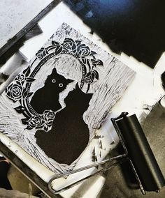 Subtley trying to sneak a Halloween theme into my school projects 🎃 This is a process pic of my linoleum block I carved for printmaking🐱… School Projects, Art Projects, Black Cat Painting, Linoleum Block, High School Art, Linocut Prints, Halloween Themes, Art World, Art Lessons