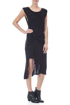 Cap sleeve midi length dress with a scoop neckline, side slits and a draped front.   Waist Drape Dress by Three Dots. Clothing - Dresses - Midi Clothing - Dresses - Casual Oklahoma