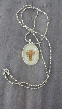 Cross stitch necklace I made for myself.