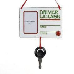 "Kurt Adler ""Driver License"" with Key Christmas Ornament"