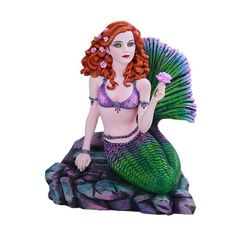 This is a mermaid figurine based on the artwork of well-known fantasy artist Brigid Ashwood. Mermaid On Rock, The Little Mermaid, Mermaid Gifts, Mermaid Diy, Fairy Figurines, Collectible Figurines, Celtic Animals, Water Fairy, Fairy Gifts