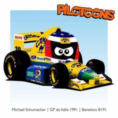 Print on Canvas Benetton 1991 Michael Schumacher by BM Mclaren Mp4, Michael Schumacher, Benetton, Cartoon Styles, Formula 1, F1, Hot Wheels, Chibi, Racing