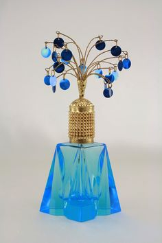 Vintage 1930'S Blue Glass Irice Perfume Bottle | eBay
