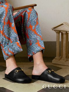 The new Horsebit slipper design, smooth leather in rounded toe shape with the House hardware from Gucci Spring Summer 2017.