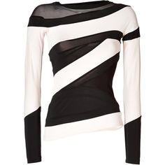 DONNA KARAN NEW YORK Two-Tone Illusion Collage Top ($976) ❤ liked on Polyvore featuring tops, shirts, sweaters, long sleeves, blusas, transparent shirt, long sleeve shirts, black white shirt, black and white tops and patchwork shirt