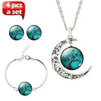 Package Including: 1 piece necklace & 1 piece bracelet & 1 pair earrings (Totally 4 pcs) Pattern: