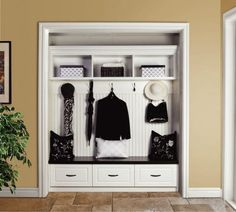 Remove the entryway closet doors and add a bench! Great alternative to a mudroom. NOW if only I had an entry closet :-) Entry Closet, Front Closet, Closet Doors, Closet Mudroom, Closet Redo, Closet Space, Closet Storage, Closet Remodel, Closet Bench