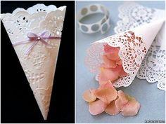 Cones feitos de doilies - Post no blog: DIY: cones para chuva de arroz