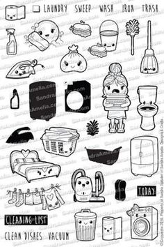 Pre- order Kawaii Cleaning - Planner Stamp Set