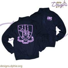 Delta Phi Epsilon custom group order on DPHiE Crest quarter zips!! Get your DPhiE Designs custom chapter order started today, just email Custom@DPhiE.org