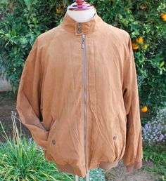 Norm Thompson Jacket size XL Polyester Sude Full Zip Up Beige Zipper #NormThompson #BasicJacket