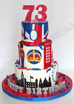Celebrate with Cake!: Union Jack London Themed Tier Cake