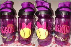 Softball lovers !! These are super cute to bring to the games.  14oz flip top. Can also do glitter !