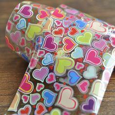 Nueva Llegada de Uñas Pegamento de uñas Hoja Transferencia Tamaño Mezclado Colorido Dulce Corazón YC405