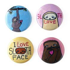 Handmade Gifts | Independent Design | Vintage Goods Sloth Love Pin Set #shanalogic