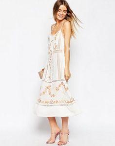 ASOS PREMIUM Embroidered Slip Midi Dress