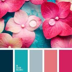 Combo Couleurs Coral Colour Palette, Color Schemes Colour Palettes, Color Combos, Coral Color, Turquoise Color Palettes, Colour Gray, Bedroom Paint Colors, Bedroom Color Schemes, Coral Bedroom
