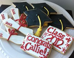 2012 Graduation Decorated Cookies- Caps and Diplomas and personalized congrats. $38.00, via Etsy.