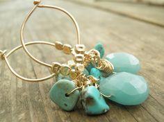 Aqua+Amazonite+Turquoise+Glories+Cluster+by+AnnalisJewelry+on+Etsy,+$52.00