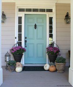 Behr paint blue door Teal Front Doors, Front Door Paint Colors, Painted Front Doors, Front Door Design, Paint Colors For Home, Paint For Front Door, Colored Front Doors, Painted Exterior Doors, Colored Door