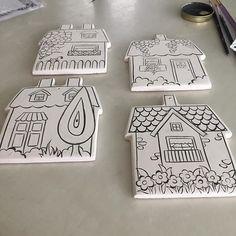 ❤️Canım evlerim❤️ # Handiwork The modernizers tile house # # # # # tahrir house # underglaze to Ceramic Houses, Ceramic Clay, Ceramic Painting, Ceramic Pottery, Hobbies And Crafts, Diy And Crafts, Crafts For Kids, Diy Clay, Clay Crafts