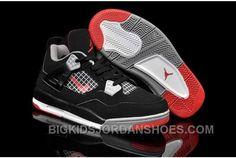 new arrival e487e 1c8de Hot Nike Air Jordan 4 Kids Black Grey Red Shoes