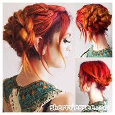 Vivid Hair Color in Violet, Red, Orange and Yellow. Dutch Braid, 4 Strand Braid Up-Do by Sherri Jessee. www.sherrijessee.com