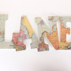 World map letter set. Perfect for a travel nursery! #map #travelnursery #mapdecor